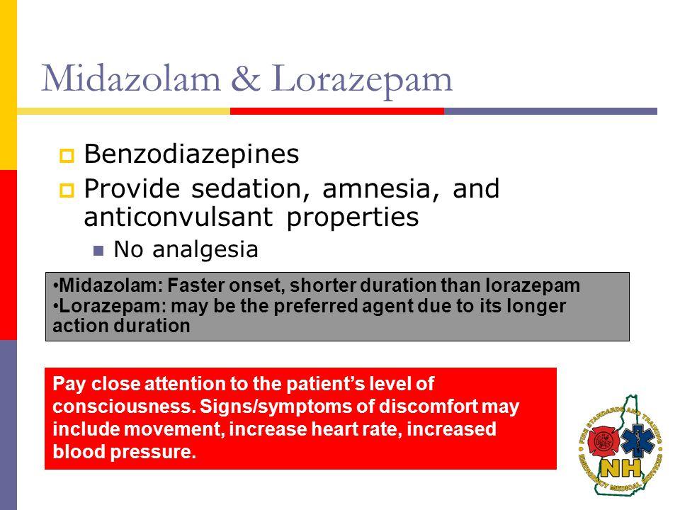 Midazolam & Lorazepam Benzodiazepines