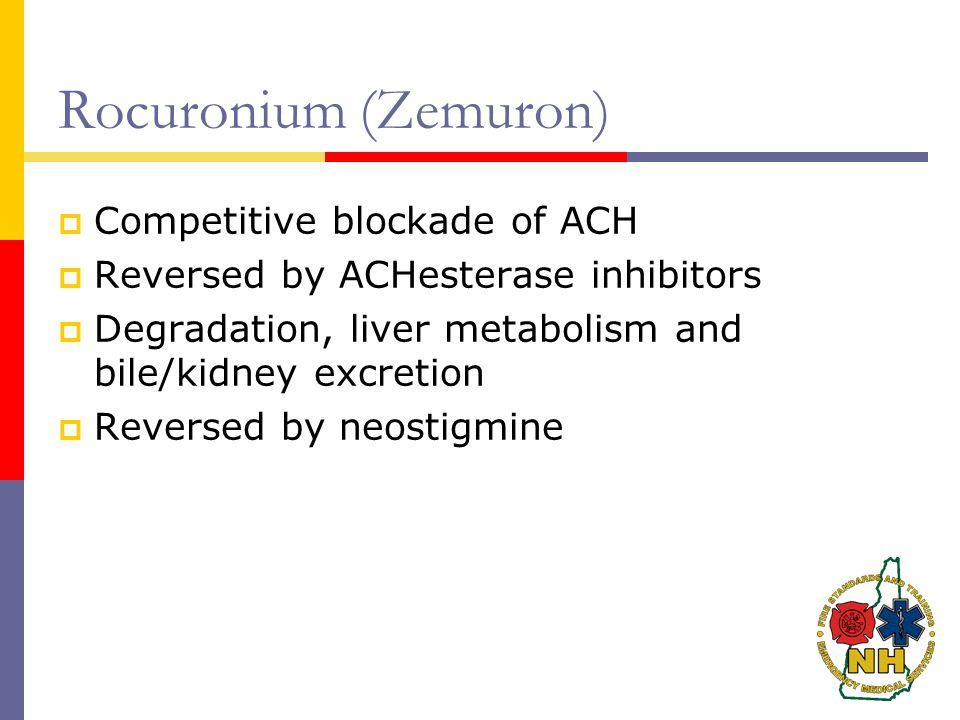 Rocuronium (Zemuron) Competitive blockade of ACH
