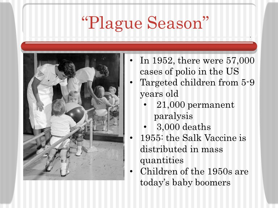 Plague Season In 1952, there were 57,000 cases of polio in the US