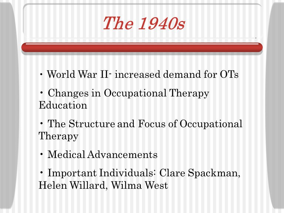 The 1940s Changes in Occupational Therapy Education