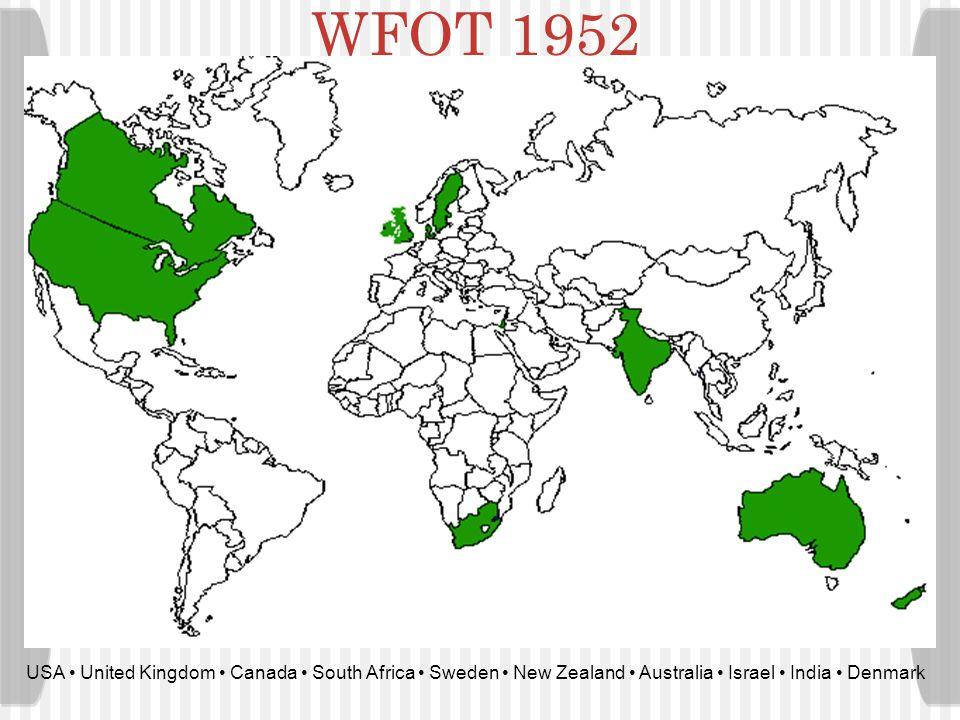 WFOT 1952 USA • United Kingdom • Canada • South Africa • Sweden • New Zealand • Australia • Israel • India • Denmark.