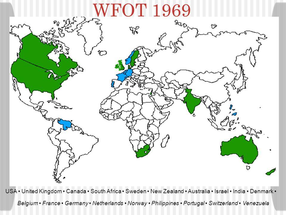 WFOT 1969 USA • United Kingdom • Canada • South Africa • Sweden • New Zealand • Australia • Israel • India • Denmark •
