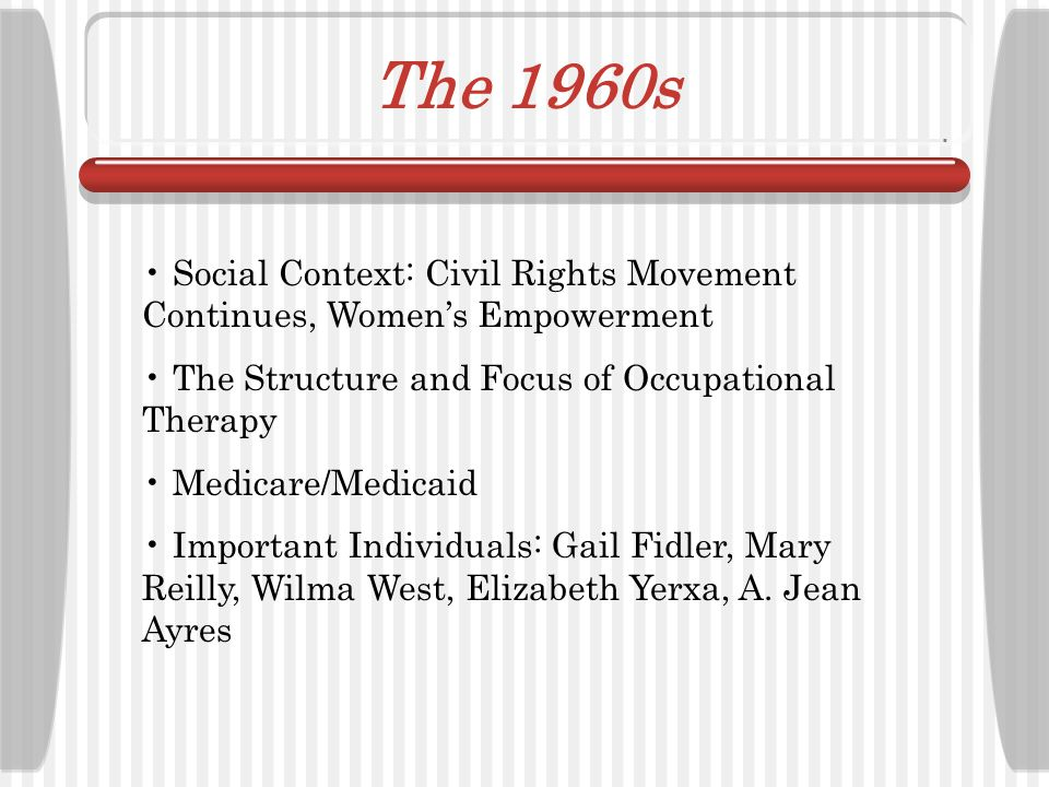 The 1960s Social Context: Civil Rights Movement Continues, Women's Empowerment. The Structure and Focus of Occupational Therapy.
