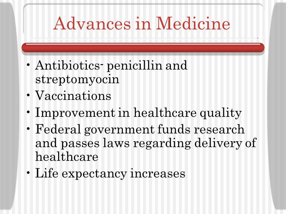 Advances in Medicine Antibiotics- penicillin and streptomyocin
