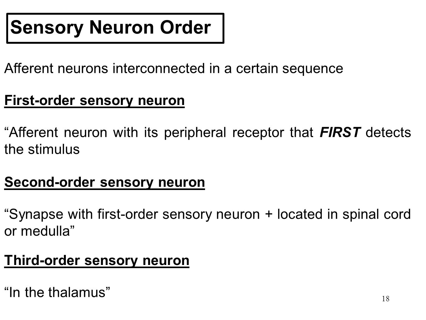 Sensory Neuron Order Afferent neurons interconnected in a certain sequence. First-order sensory neuron.