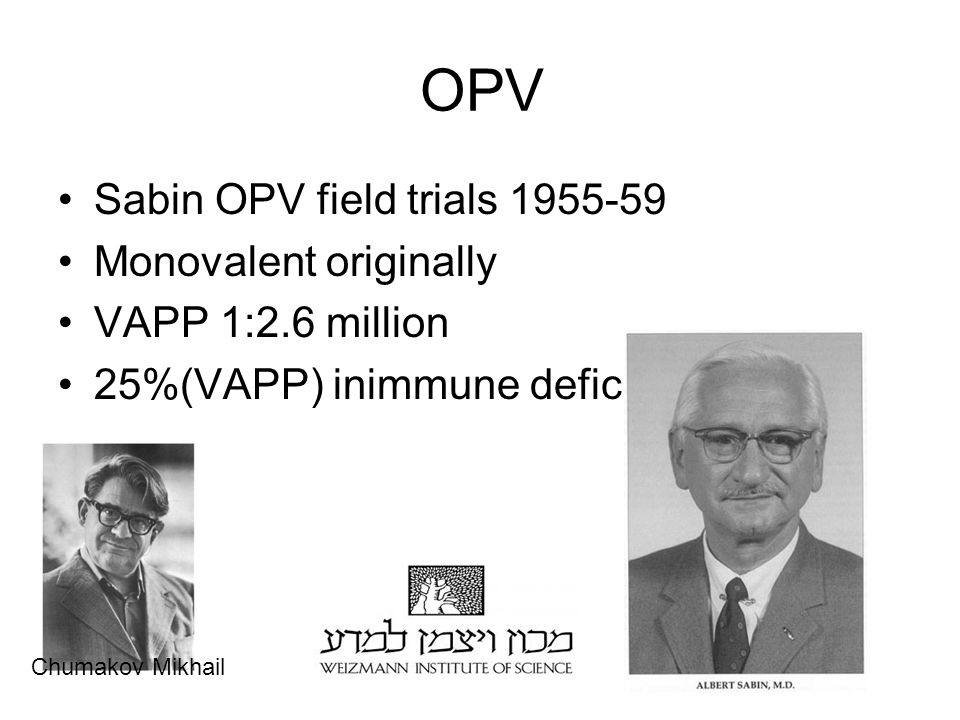 OPV Sabin OPV field trials 1955-59 Monovalent originally