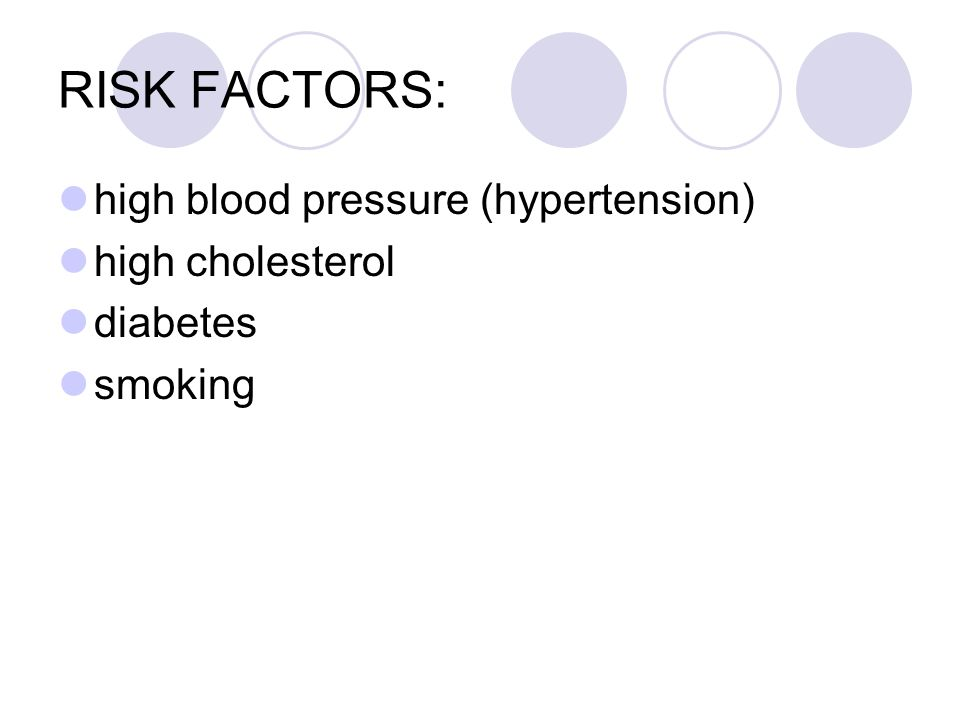 RISK FACTORS: high blood pressure (hypertension) high cholesterol