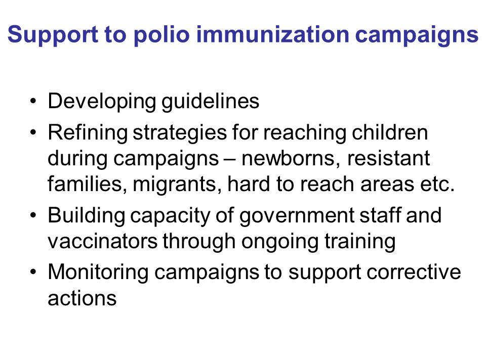 Support to polio immunization campaigns