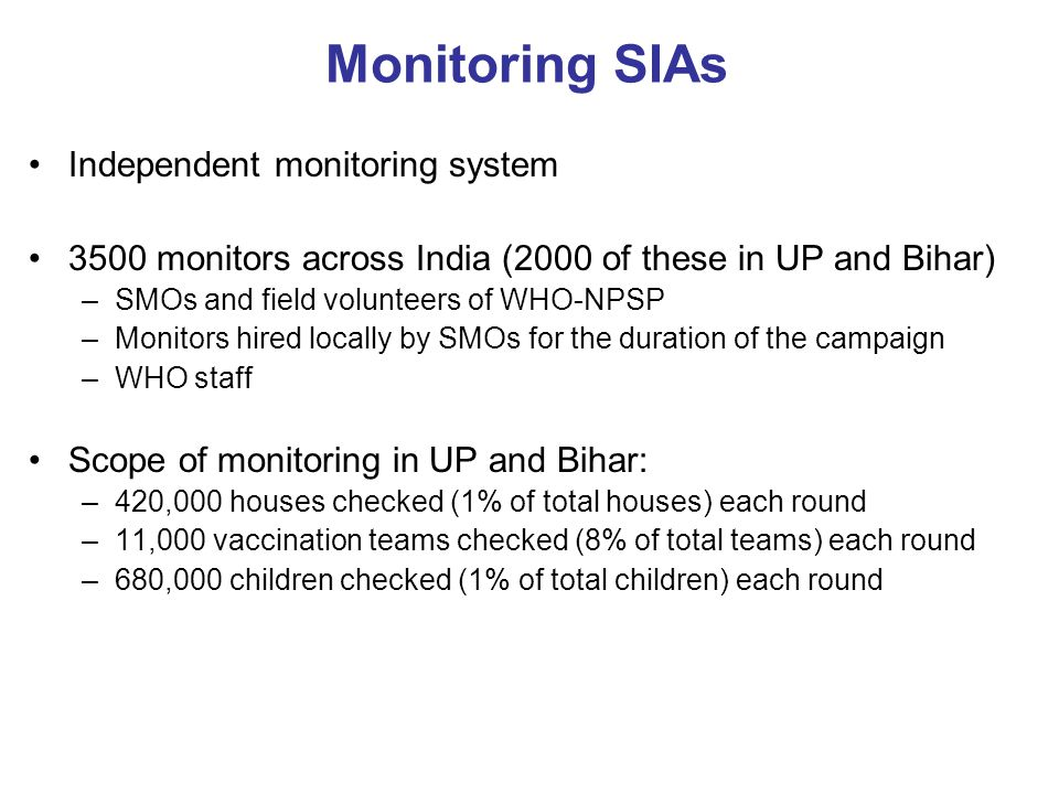 Monitoring SIAs Independent monitoring system