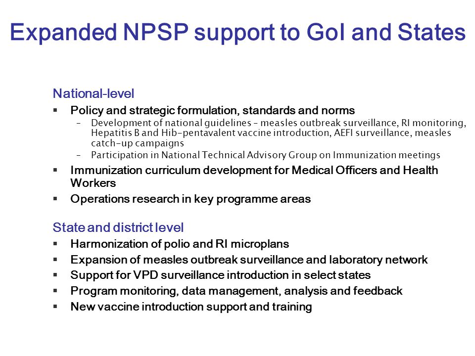 Expanded NPSP support to GoI and States