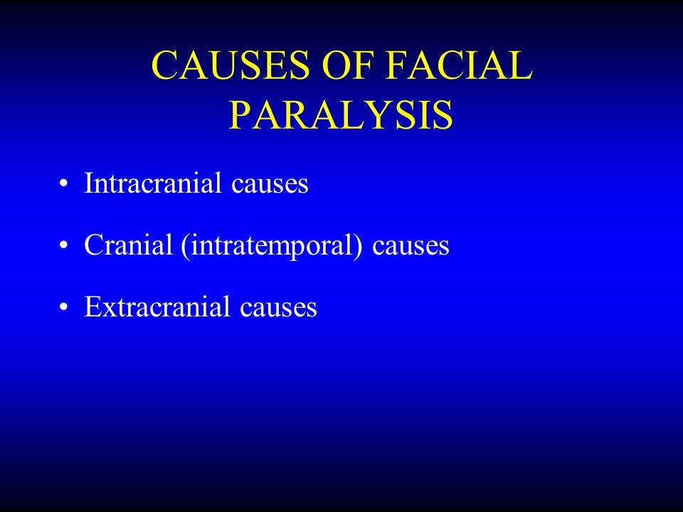 CAUSES OF FACIAL PARALYSIS