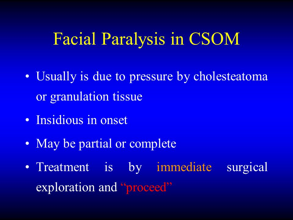 Facial Paralysis in CSOM