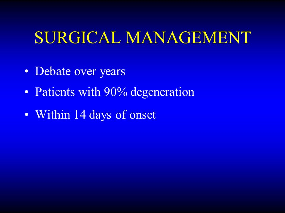 SURGICAL MANAGEMENT Debate over years Patients with 90% degeneration