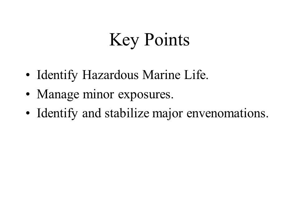 Key Points Identify Hazardous Marine Life. Manage minor exposures.