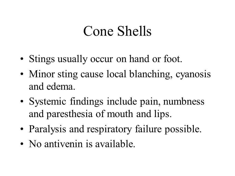 Cone Shells Stings usually occur on hand or foot.