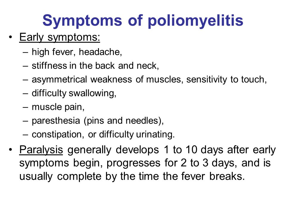 the causes symptoms and effects of poliomyelitis Poliomyelitis (say po-lio-my-el  what is polio how is polio caught  what are the effects of polio it causes a virus infection in the bowel.
