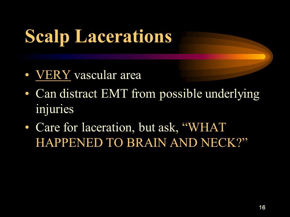 Scalp Lacerations VERY vascular area