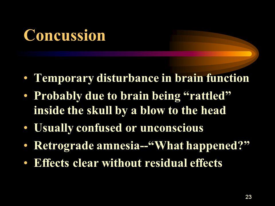Concussion Temporary disturbance in brain function