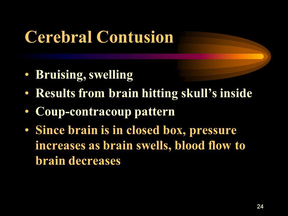 Cerebral Contusion Bruising, swelling