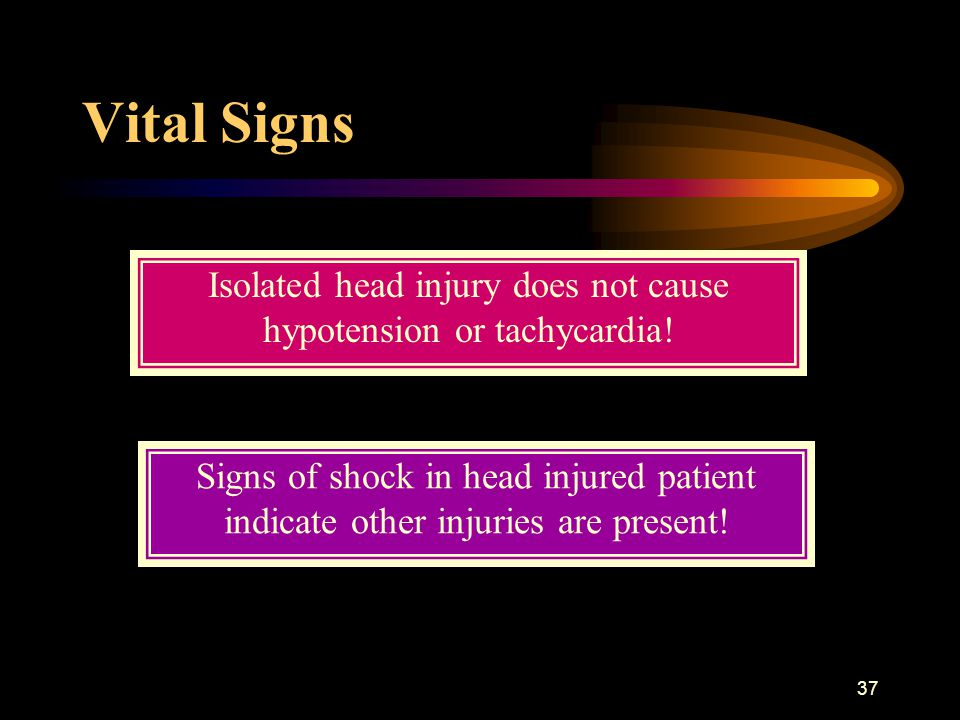 Isolated head injury does not cause hypotension or tachycardia!