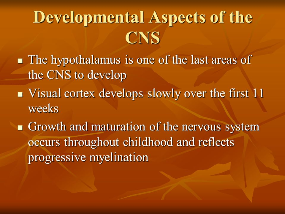 Developmental Aspects of the CNS