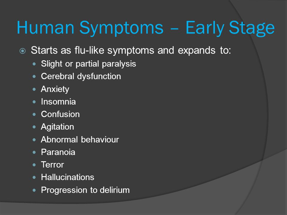 Human Symptoms – Early Stage