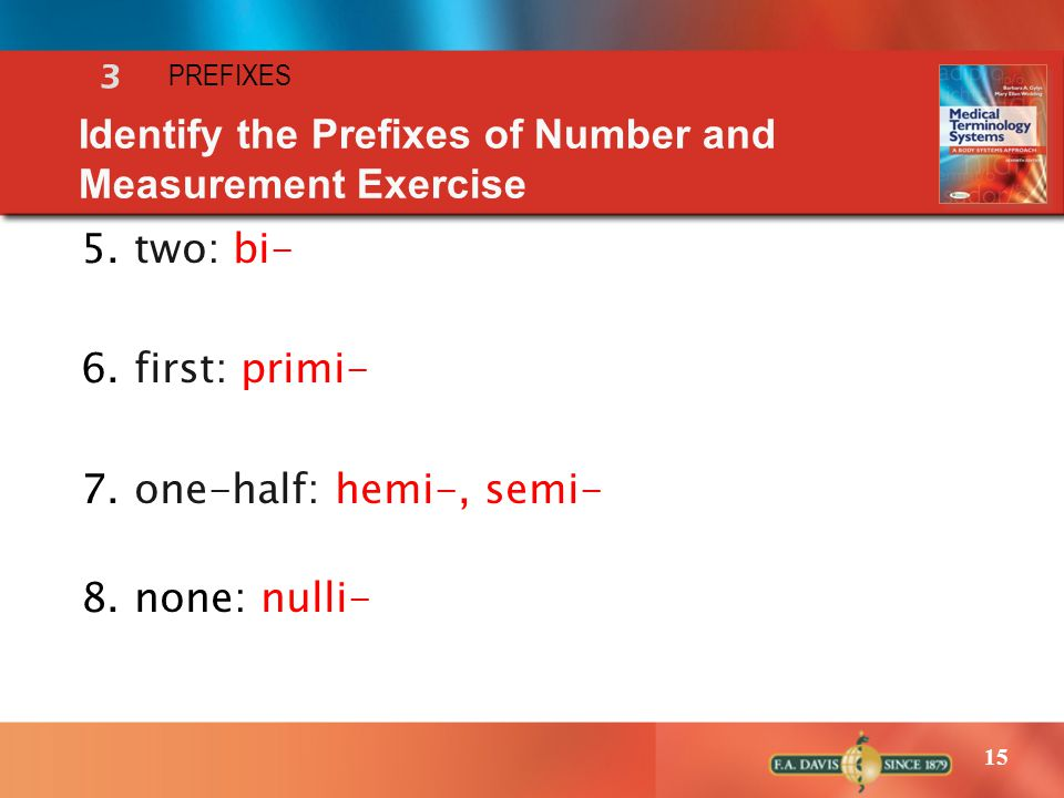 Identify the Prefixes of Number and Measurement Exercise