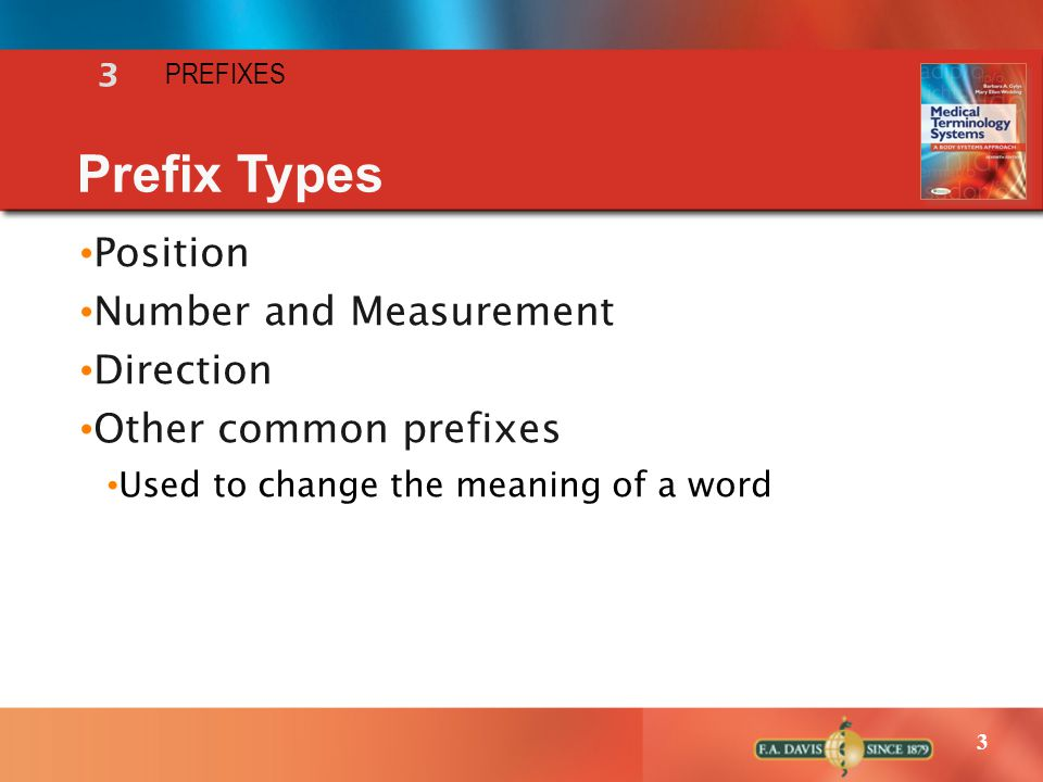 Prefix Types Position Number and Measurement Direction