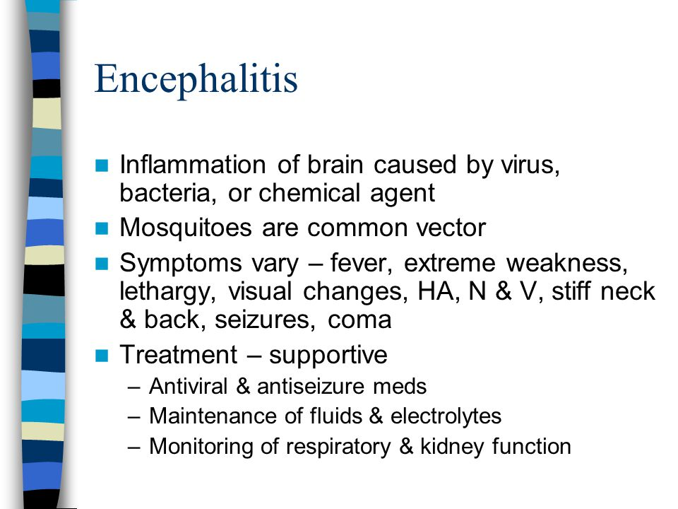 Encephalitis Inflammation of brain caused by virus, bacteria, or chemical agent. Mosquitoes are common vector.