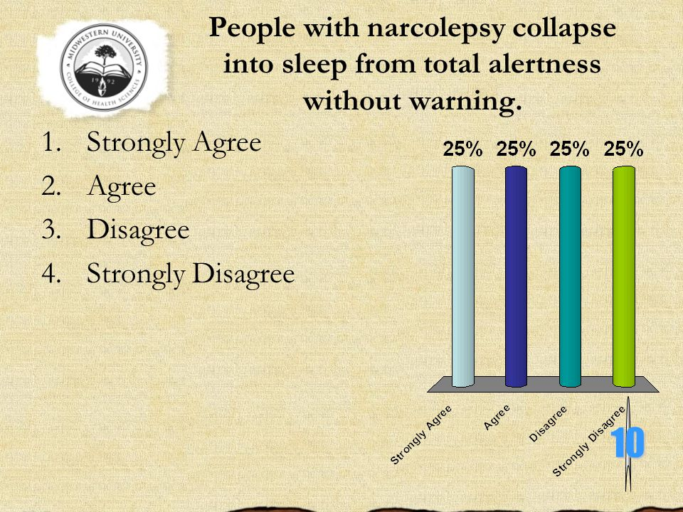 People with narcolepsy collapse into sleep from total alertness without warning.