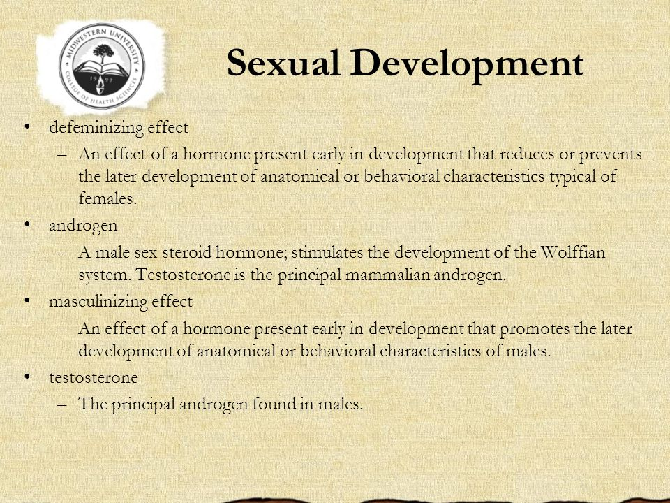 Sexual Development defeminizing effect