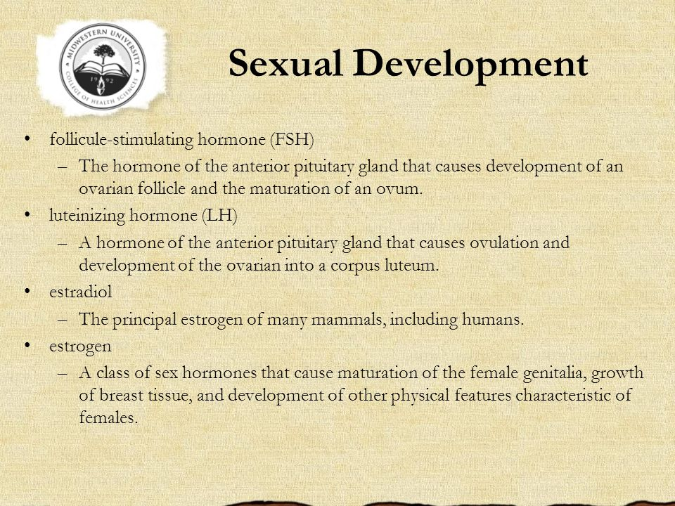 Sexual Development follicule-stimulating hormone (FSH)