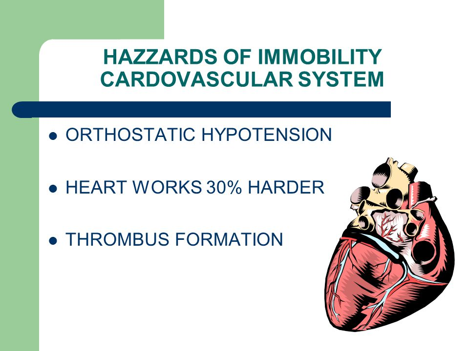 HAZZARDS OF IMMOBILITY CARDOVASCULAR SYSTEM