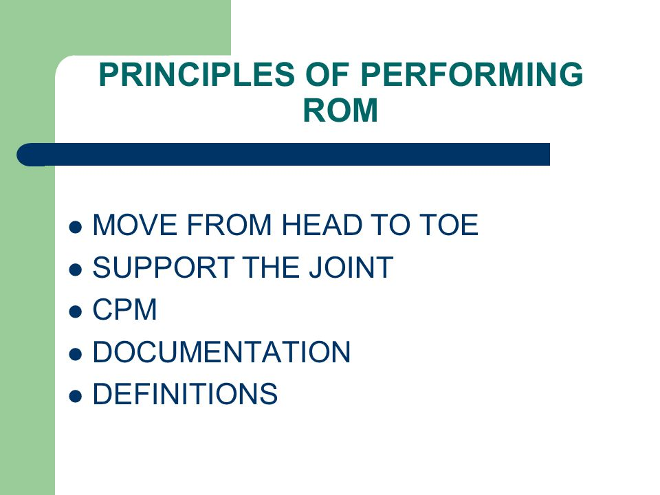 PRINCIPLES OF PERFORMING ROM
