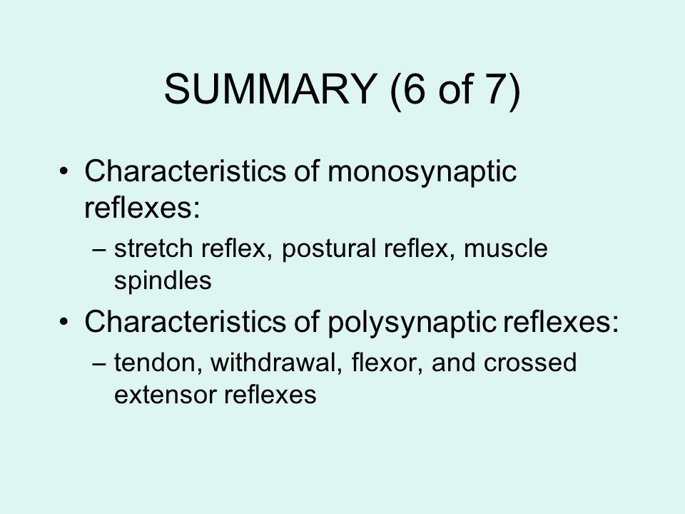 SUMMARY (6 of 7) Characteristics of monosynaptic reflexes: