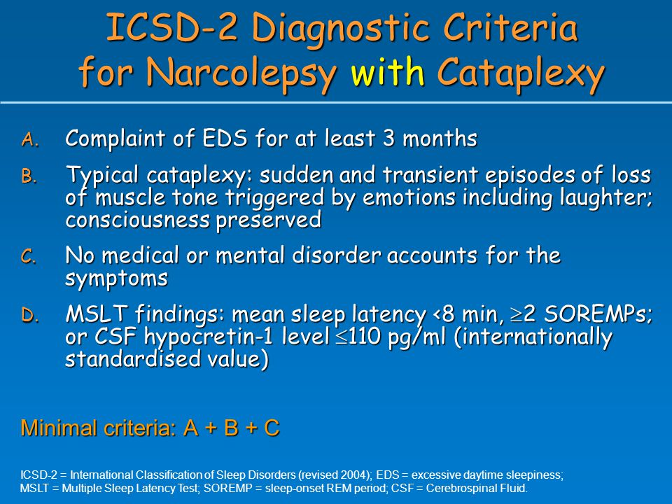 ICSD-2 Diagnostic Criteria for Narcolepsy with Cataplexy