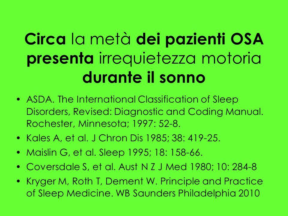 Circa la metà dei pazienti OSA presenta irrequietezza motoria durante il sonno