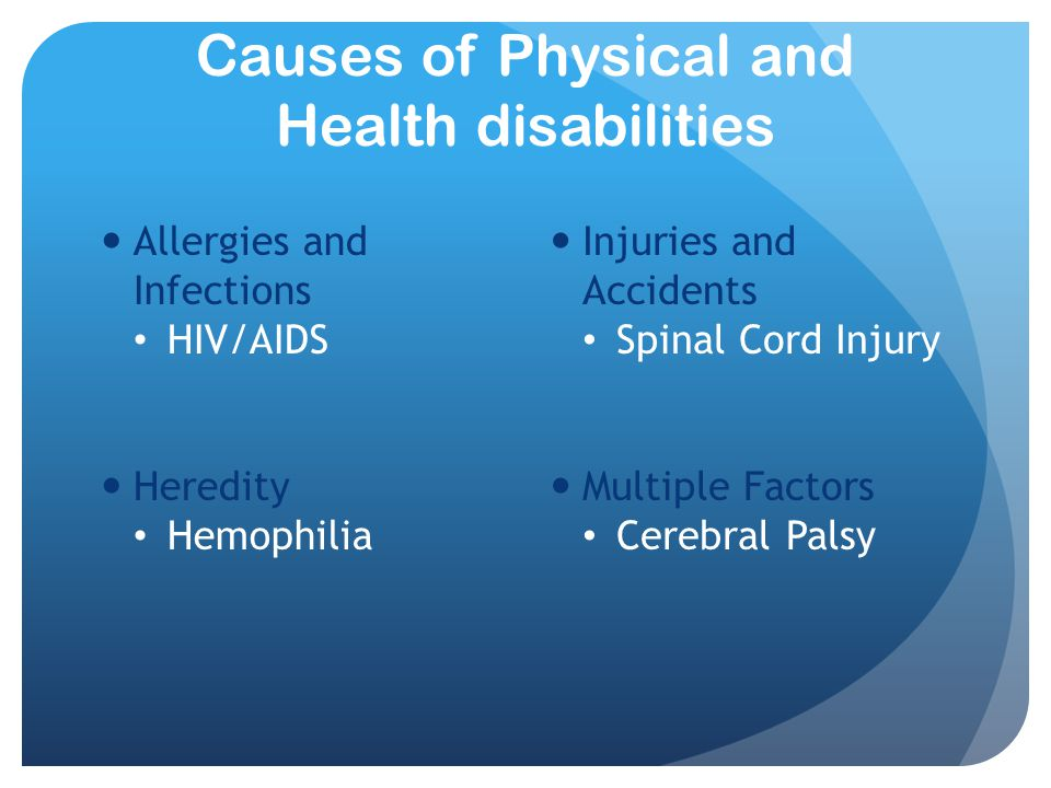 Causes of Physical and Health disabilities