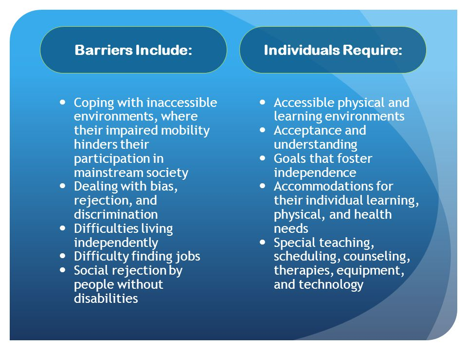 Barriers Include: Individuals Require: