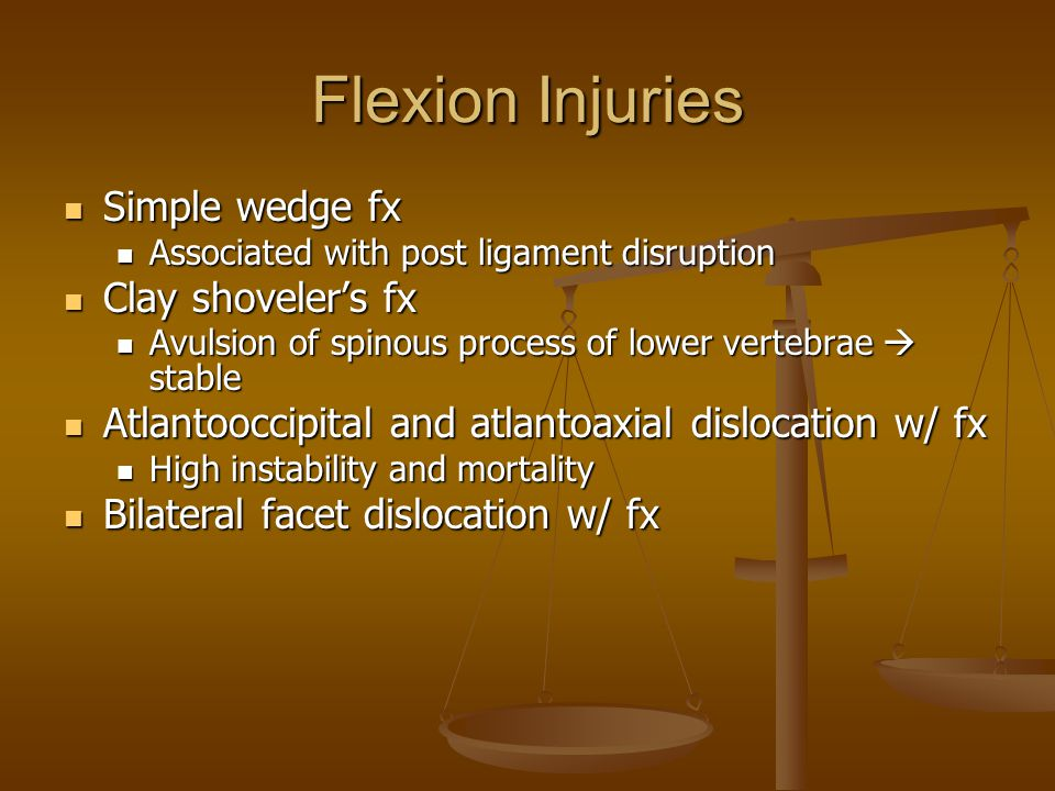 Flexion Injuries Simple wedge fx Clay shoveler's fx