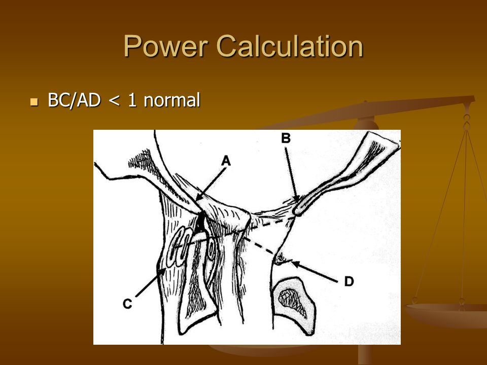 Power Calculation BC/AD < 1 normal