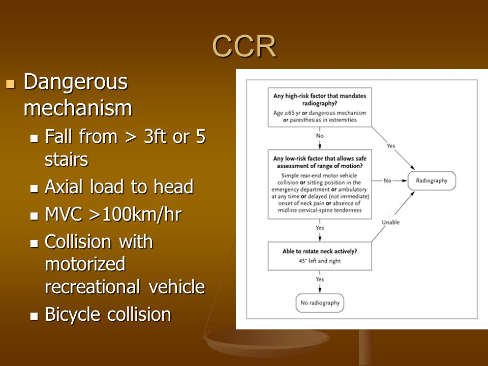 CCR Dangerous mechanism Fall from > 3ft or 5 stairs