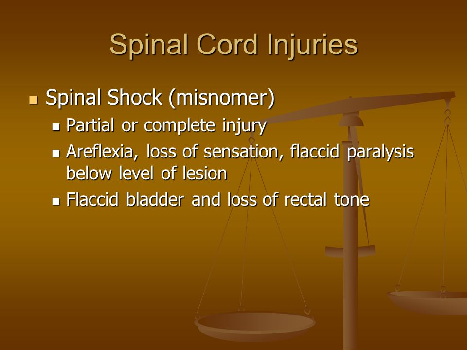 Spinal Cord Injuries Spinal Shock (misnomer)