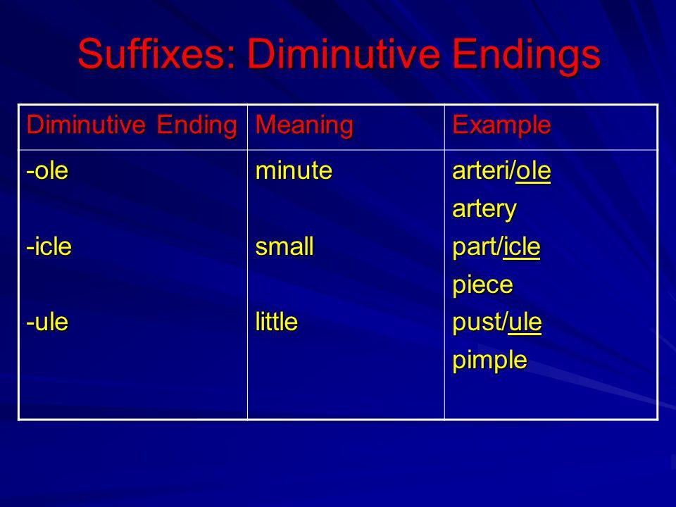 Suffixes: Diminutive Endings