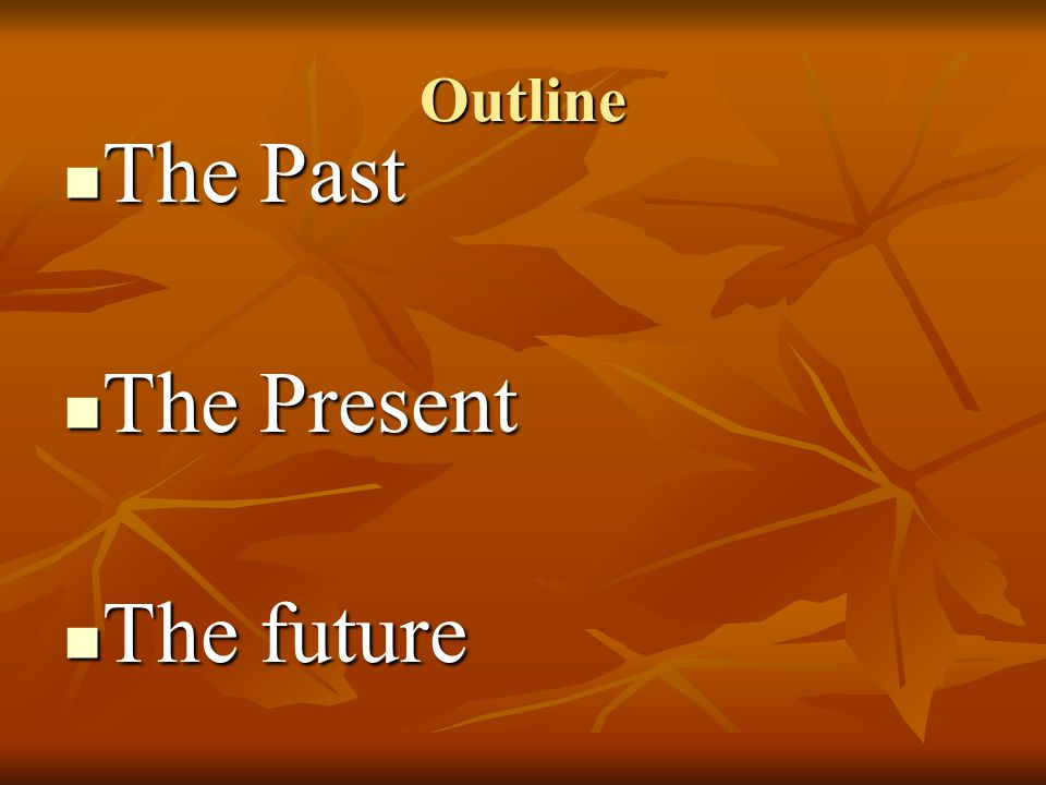 Outline The Past The Present The future
