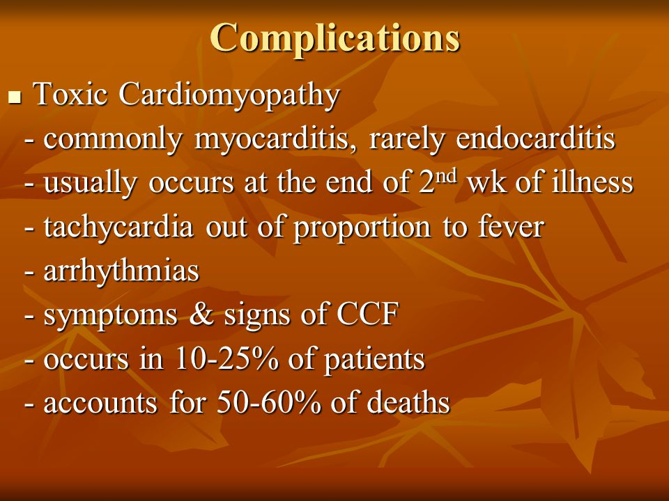 Complications Toxic Cardiomyopathy