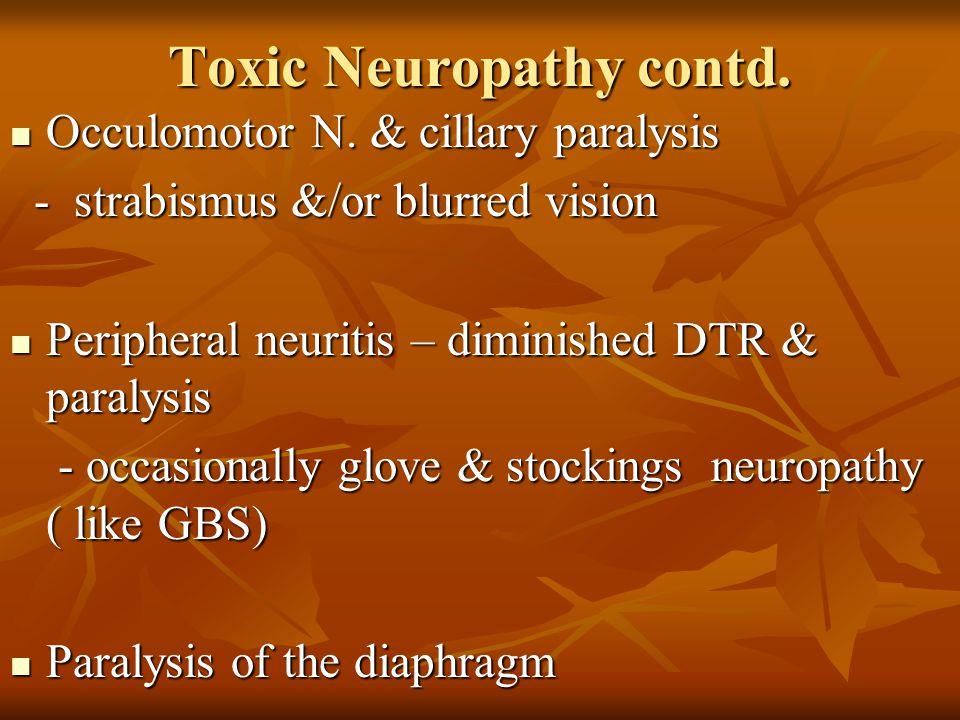 Toxic Neuropathy contd.