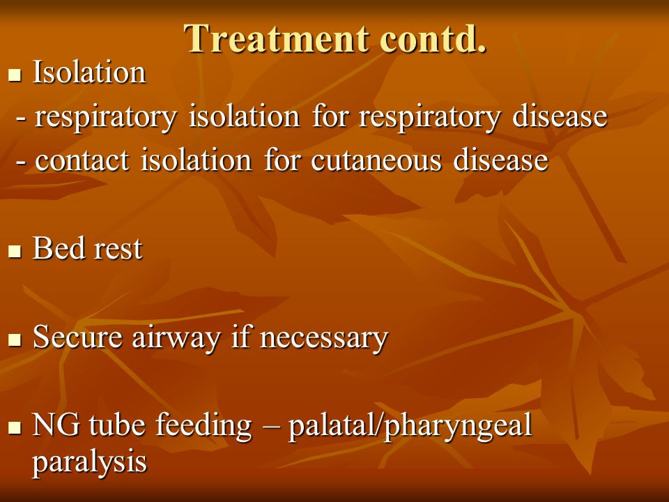 Treatment contd. Isolation