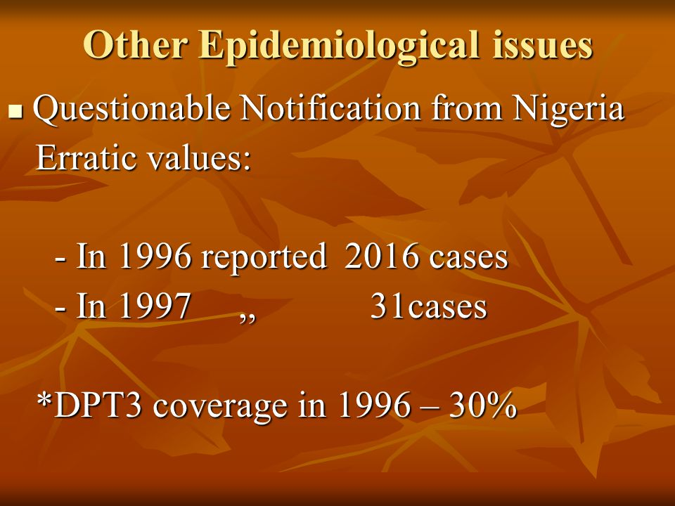 Other Epidemiological issues