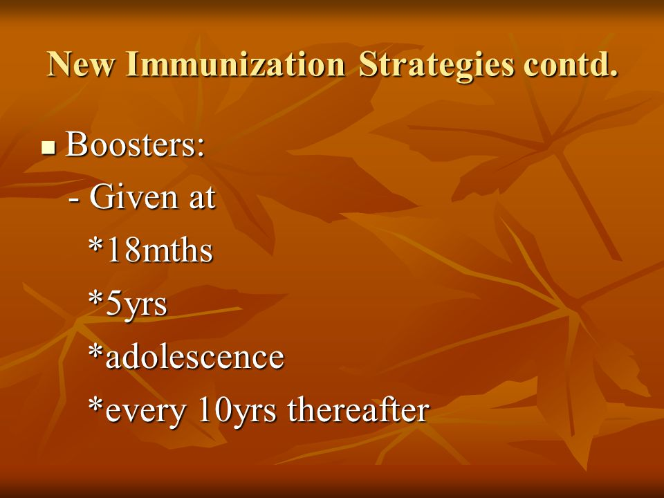 New Immunization Strategies contd.